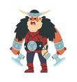 viking cartoon scandinavian warrior shouting vector image