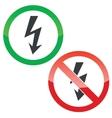 Voltage permission signs set vector image vector image