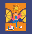 wake up and do yoga during pregnancy final vector image vector image