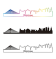 Warsaw skyline linear style with rainbow vector image vector image