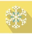 White snowflake flat icon vector image