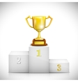 Winner Pedestal With Gold Trophy Cup vector image vector image
