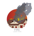 wooden house on fire icon vector image vector image