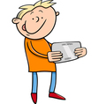boy with tablet cartoon vector image