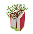 knowledge tree with letters from open book vector image