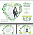 wedding invitationgreen branches heart wedding vector image