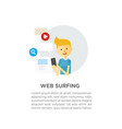 web surfing guy with a phone vector image