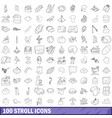 100 stroll icons set outline style vector image vector image