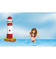 A girl wearing a bikini at the beach beside a vector image vector image