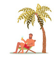 a young man lies on a lounger vector image vector image