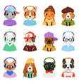 animal in headphones animalistic character vector image