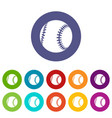 baseball icons set color vector image vector image