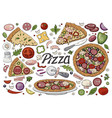 big italian pizza and pizza ingredients vector image vector image