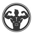 bodybuilder logo icon on white background vector image vector image