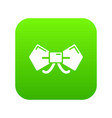 bow tie hipster icon green vector image vector image