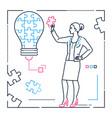 businesswoman doing puzzle - line design style vector image