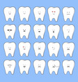 cartoon tooth emotions vector image vector image