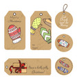 christmas gift tags with hand drawing elements vector image