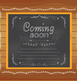 Coming soon written on chalkboard