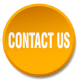 contact us orange round flat isolated push button vector image vector image