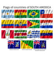 countries flags of south america continent vector image