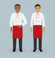 couple of male and female chefs standing together vector image vector image