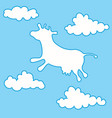 cow flying among clouds vector image vector image