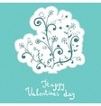 Cute abstract flowers valentines day badge vector image