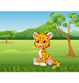 Cute baby cheetah in jungle vector image