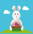 cute rabbit sitting with basket eggs festive vector image