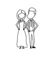 dotted shape happy couple together and romantic vector image