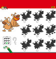 educational shadow game with dog characters vector image vector image