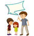 father upset with children with speech balloon vector image vector image