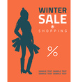 Girl or woman on big winter shopping sale hold vector image