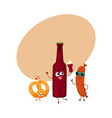 happy beer bottle salty pretzel frankfurter vector image vector image