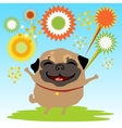 Happy dog with fireworks on the nature vector image