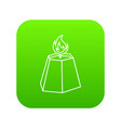 hexagon candle icon green vector image vector image