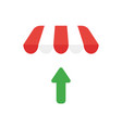 icon concept of arrow moving up under shop store vector image vector image
