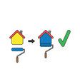 icon concept painting house with paint brush vector image vector image