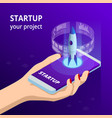 isometric online businnes start up for web page vector image vector image