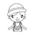 little tourist boy with camera photographic vector image