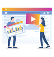 media marketing people works on website promotion vector image vector image