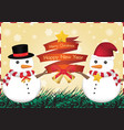 merry christmas and happy new year snowman vector image vector image