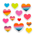 Paper Heart Symbols Set Isolated on White vector image