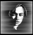 parallel line art face woman portrait in contrast vector image vector image