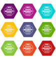 personal data security icons set 9 vector image vector image