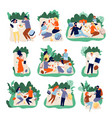 picnic friends people eating in park healthy vector image vector image