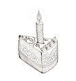 Piece of holiday cake with candle vector image vector image