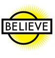 print believe stamp on white