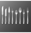 realistic cutlery set silver or steel fork vector image vector image